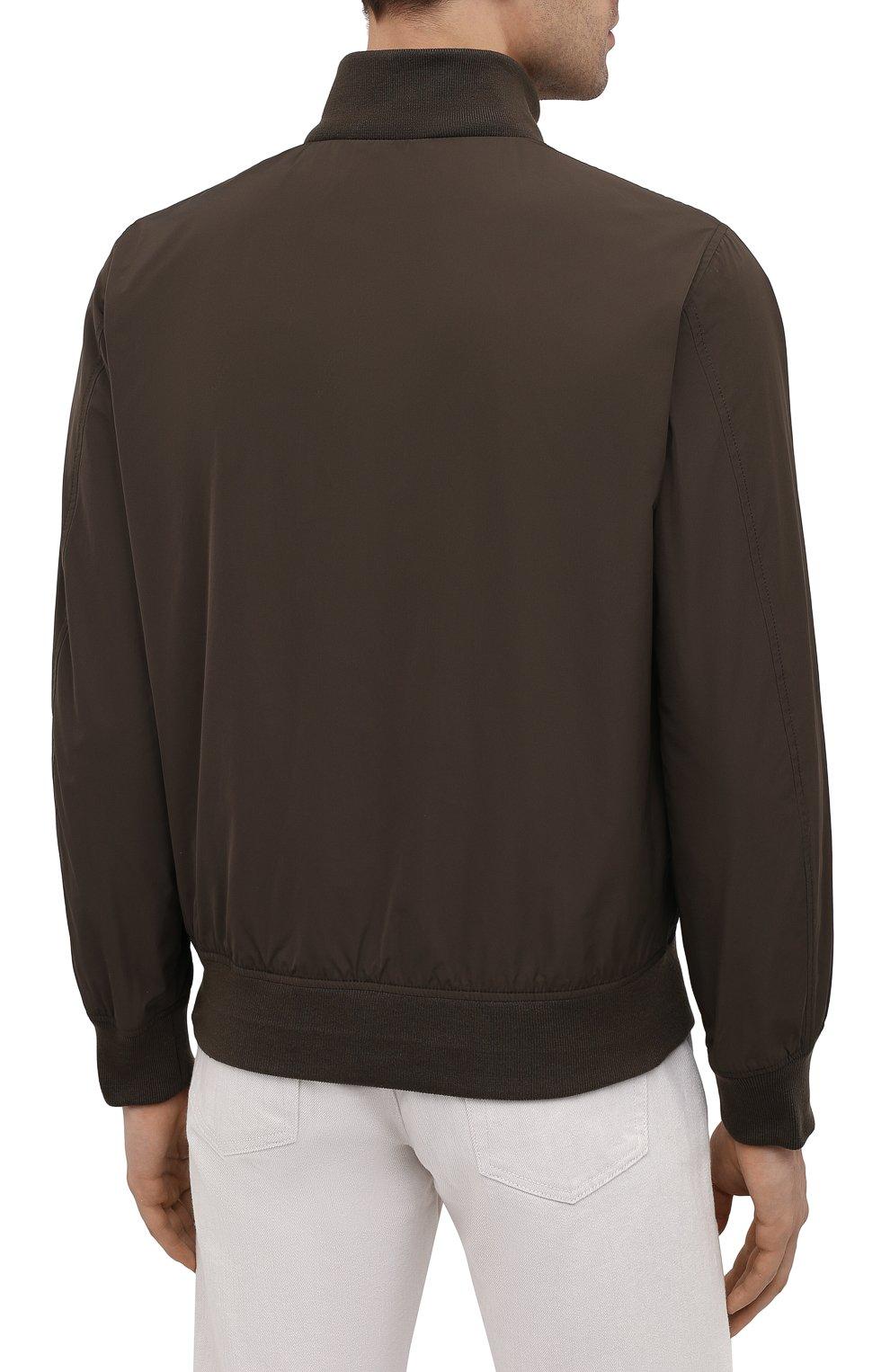 Мужской бомбер ASPESI хаки цвета, арт. S1 I I918 G703 | Фото 4 (Кросс-КТ: Куртка; Рукава: Длинные; Принт: Без принта; Материал внешний: Синтетический материал; Материал подклада: Синтетический материал; Длина (верхняя одежда): Короткие; Стили: Кэжуэл)