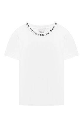Детская хлопковая футболка LES COYOTES DE PARIS белого цвета, арт. 115-22-093   Фото 1