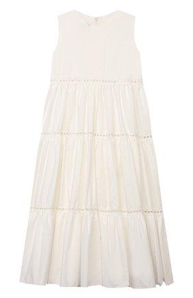 Детское хлопковое платье DESIGNERS CAT белого цвета, арт. 100000K01000716/4A-8A | Фото 1