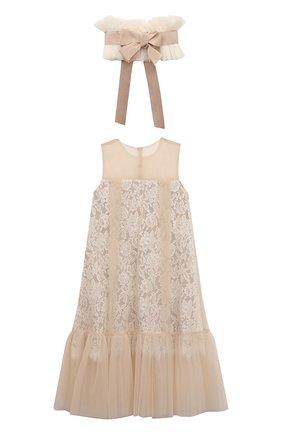 Детское платье с декоративным воротником DESIGNERS CAT бежевого цвета, арт. 100000K01000741/4A-8A | Фото 1