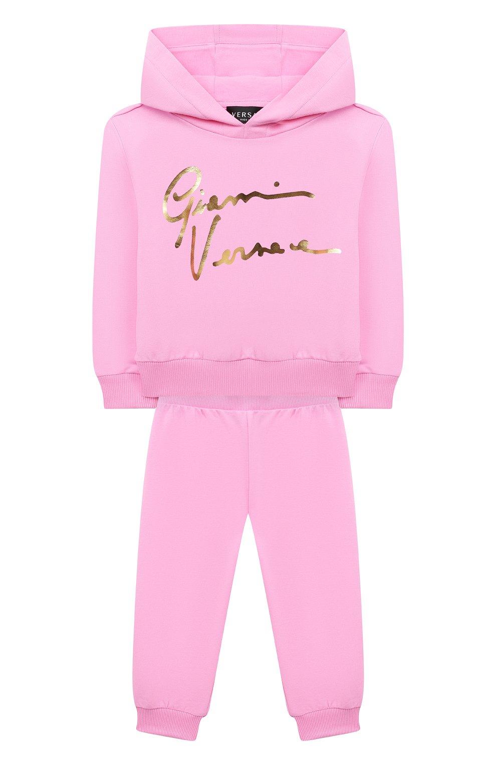 Детский комплект из худи и брюк VERSACE розового цвета, арт. 1000177/1A00154 | Фото 1