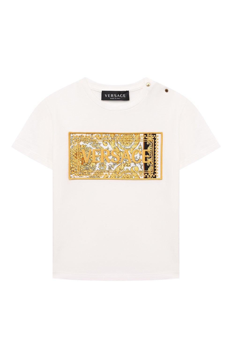 Детский хлопковая футболка VERSACE белого цвета, арт. 1000102/1A00268 | Фото 1