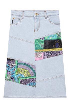 Детская джинсовая юбка VERSACE голубого цвета, арт. 1000032/1A00340/8A-14A | Фото 1