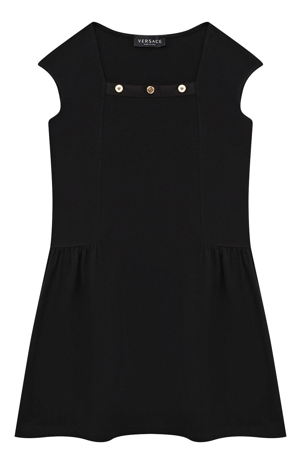 Детское хлопковое платье VERSACE черного цвета, арт. 1000021/1A00014/8A-14A   Фото 1