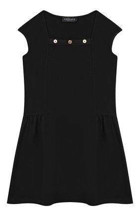 Детское хлопковое платье VERSACE черного цвета, арт. 1000021/1A00014/4A-6A | Фото 1