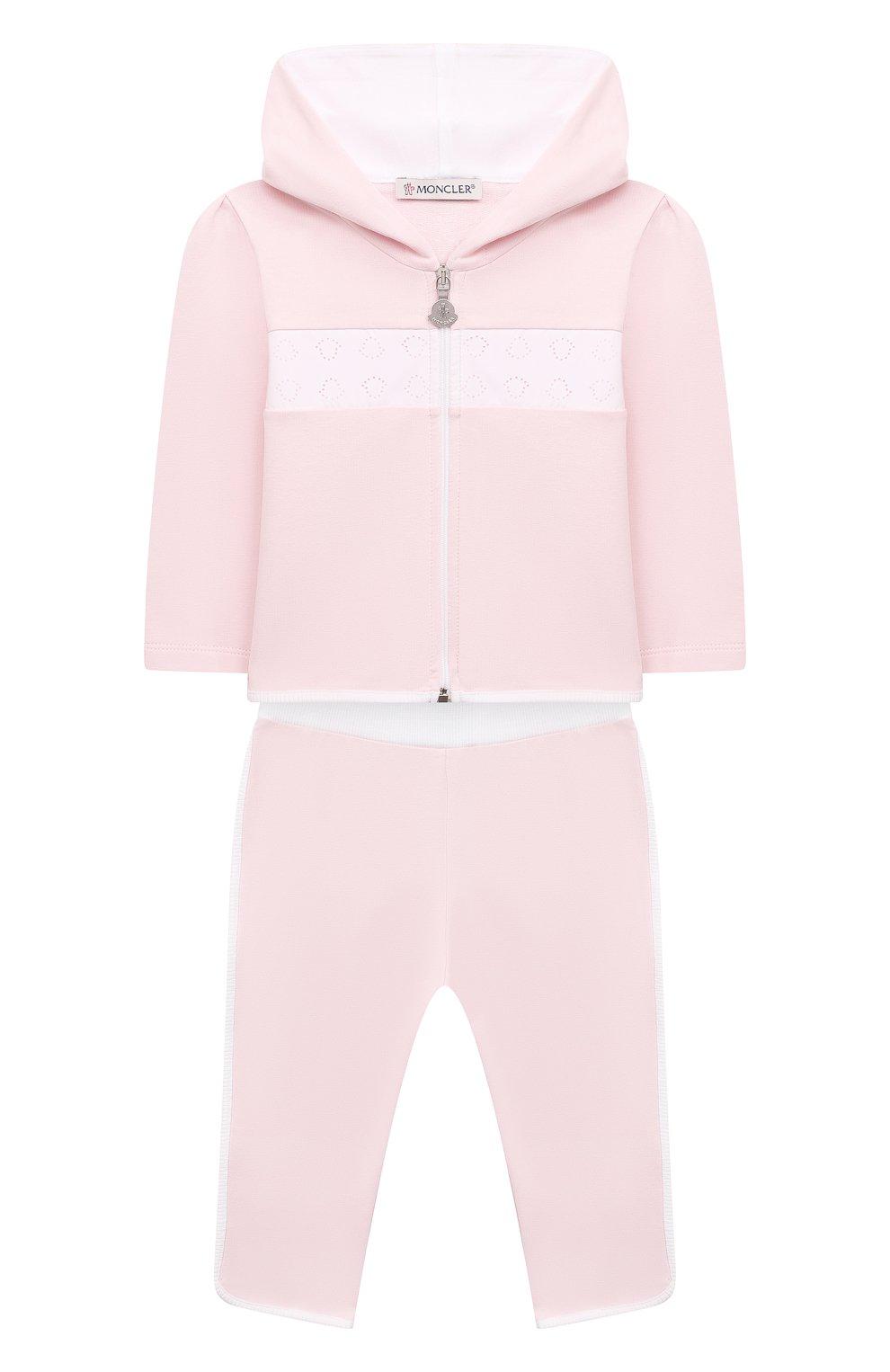 Детский комплект из толстовки и брюк MONCLER светло-розового цвета, арт. G1-951-8M752-10-899AR | Фото 1