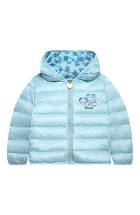 Детского пуховая куртка MOSCHINO голубого цвета, арт. MUS01V/L3A32 | Фото 1