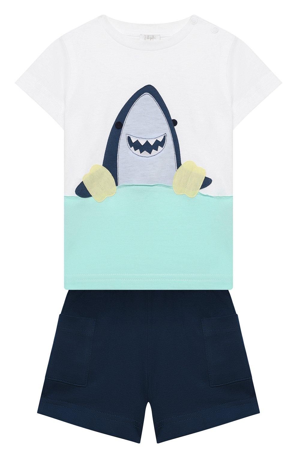 Детский комплект из футболки и шорт IL GUFO белого цвета, арт. P21DP350M0014/3M-9M | Фото 1
