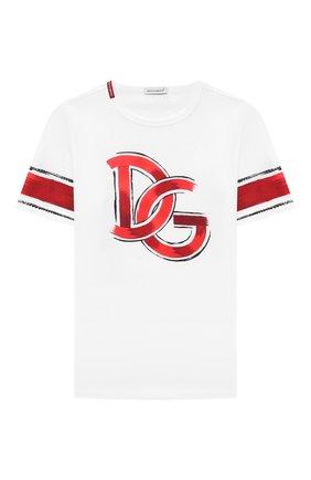 Детская хлопковая футболка DOLCE & GABBANA белого цвета, арт. L4JTAU/G7WUI/8-14 | Фото 1