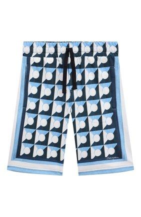Детские хлопковые шорты DOLCE & GABBANA голубого цвета, арт. L4JQH0/G7WRR/8-14   Фото 1