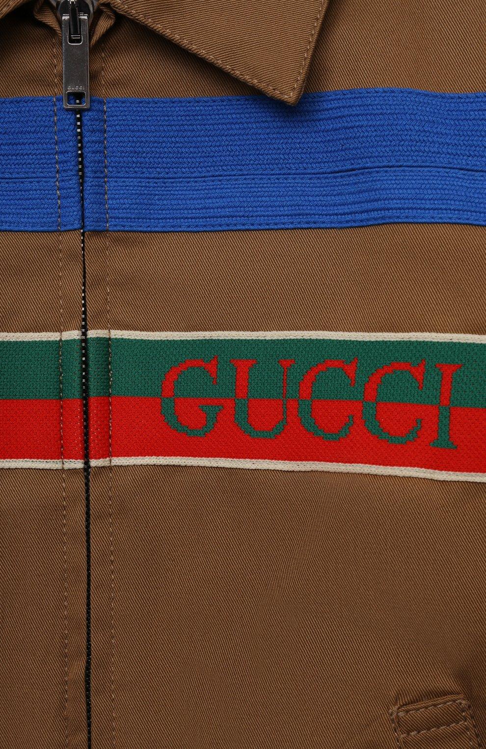 Детского хлопковый бомбер GUCCI коричневого цвета, арт. 644636/XWAMK | Фото 3