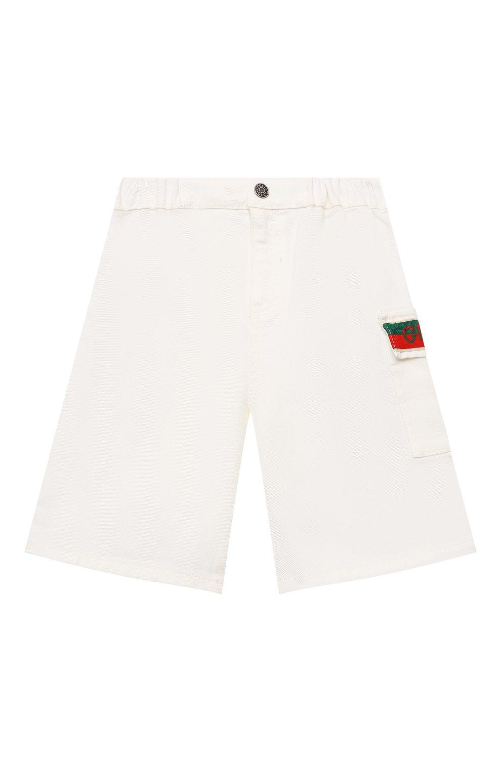 Детские хлопковые шорты GUCCI белого цвета, арт. 653325/XDBJR | Фото 1