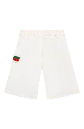 Детские хлопковые шорты GUCCI белого цвета, арт. 653325/XDBJR | Фото 2