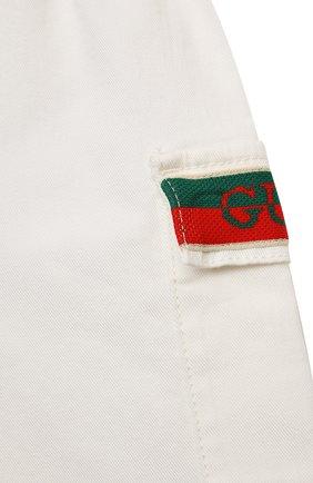 Детские хлопковые шорты GUCCI белого цвета, арт. 653325/XDBJR | Фото 3