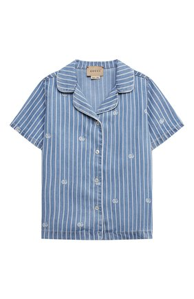 Детская джинсовая рубашка GUCCI голубого цвета, арт. 648566/XDBJU | Фото 1