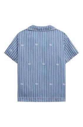 Детская джинсовая рубашка GUCCI голубого цвета, арт. 648566/XDBJU | Фото 2