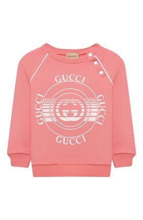 Детский хлопковый свитшот GUCCI розового цвета, арт. 647900/XJC7E | Фото 1