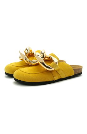 Женские замшевые сабо chain JW ANDERSON желтого цвета, арт. AN35004A/13019   Фото 1