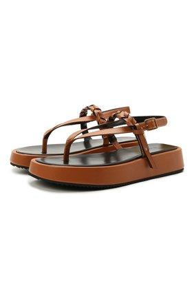 Женские кожаные сандалии JW ANDERSON коричневого цвета, арт. ANW36008A/12142 | Фото 1
