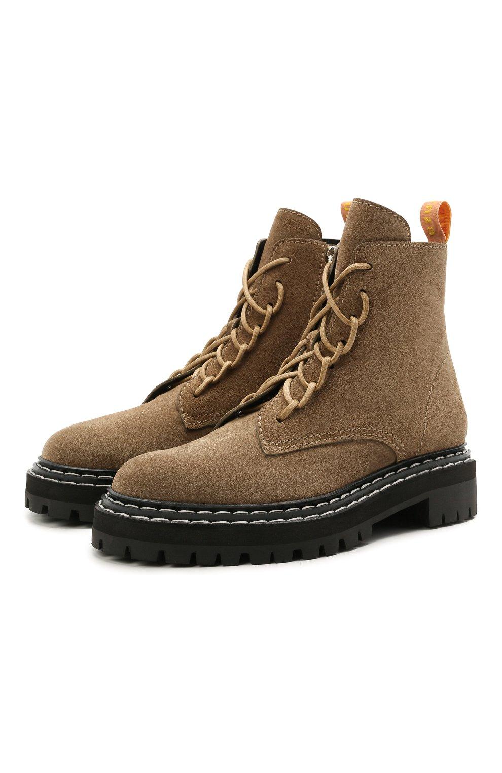 Женские замшевые ботинки PROENZA SCHOULER светло-коричневого цвета, арт. PS35113A/13070 | Фото 1 (Подошва: Платформа; Материал внешний: Кожа, Замша; Каблук высота: Низкий; Женское Кросс-КТ: Военные ботинки; Материал внутренний: Натуральная кожа)