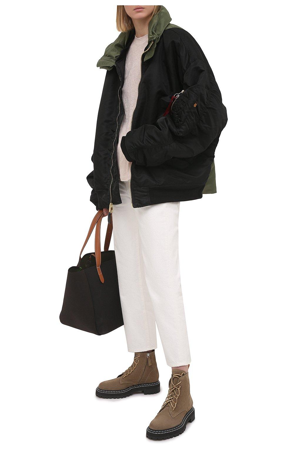 Женские замшевые ботинки PROENZA SCHOULER светло-коричневого цвета, арт. PS35113A/13070 | Фото 2 (Подошва: Платформа; Материал внешний: Кожа, Замша; Каблук высота: Низкий; Женское Кросс-КТ: Военные ботинки; Материал внутренний: Натуральная кожа)