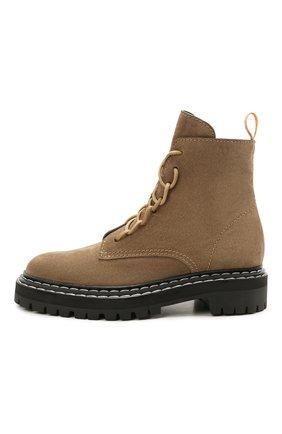 Женские замшевые ботинки PROENZA SCHOULER светло-коричневого цвета, арт. PS35113A/13070 | Фото 3 (Подошва: Платформа; Материал внешний: Кожа, Замша; Каблук высота: Низкий; Женское Кросс-КТ: Военные ботинки; Материал внутренний: Натуральная кожа)