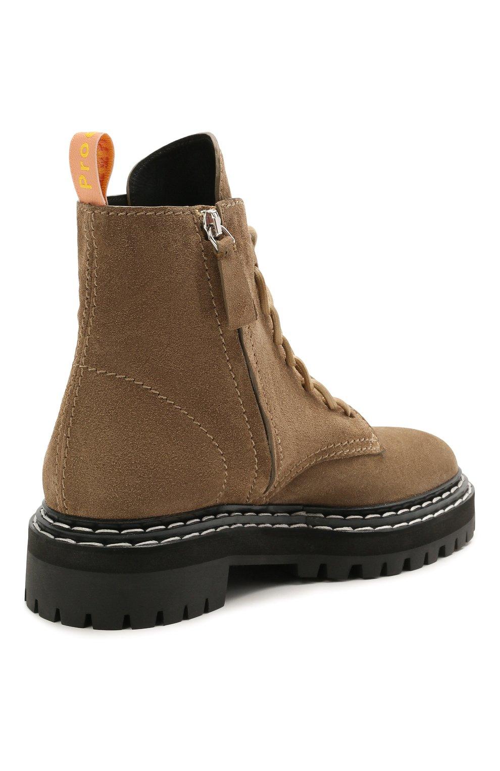 Женские замшевые ботинки PROENZA SCHOULER светло-коричневого цвета, арт. PS35113A/13070 | Фото 4 (Подошва: Платформа; Материал внешний: Кожа, Замша; Каблук высота: Низкий; Женское Кросс-КТ: Военные ботинки; Материал внутренний: Натуральная кожа)