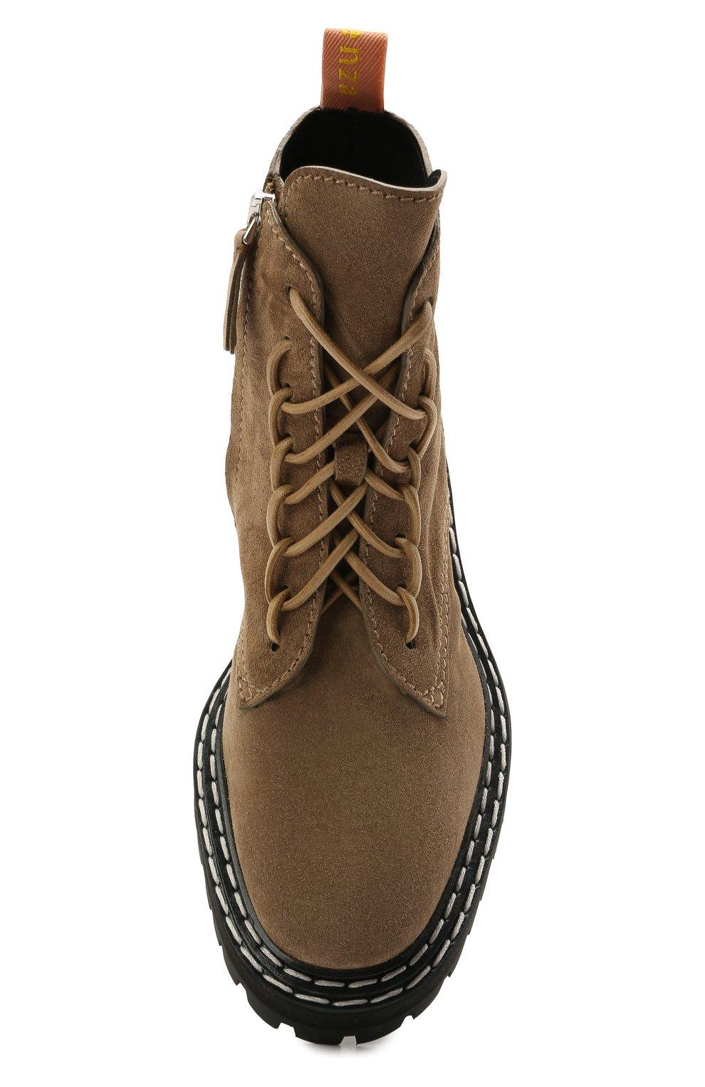 Женские замшевые ботинки PROENZA SCHOULER светло-коричневого цвета, арт. PS35113A/13070 | Фото 5 (Подошва: Платформа; Материал внешний: Кожа, Замша; Каблук высота: Низкий; Женское Кросс-КТ: Военные ботинки; Материал внутренний: Натуральная кожа)