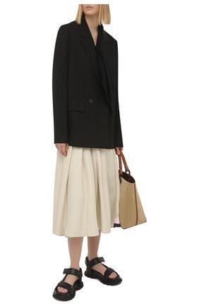 Женский жакет из шелка и вискозы JIL SANDER черного цвета, арт. JSPS130010-WS390300   Фото 2