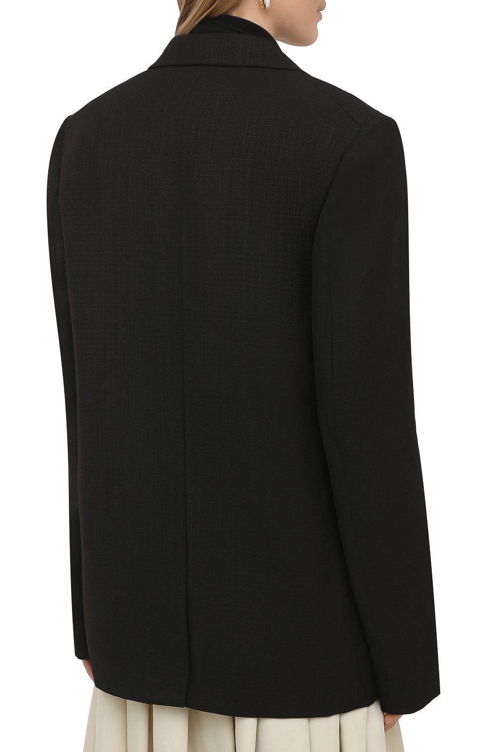 Женский жакет из шелка и вискозы JIL SANDER черного цвета, арт. JSPS130010-WS390300   Фото 4