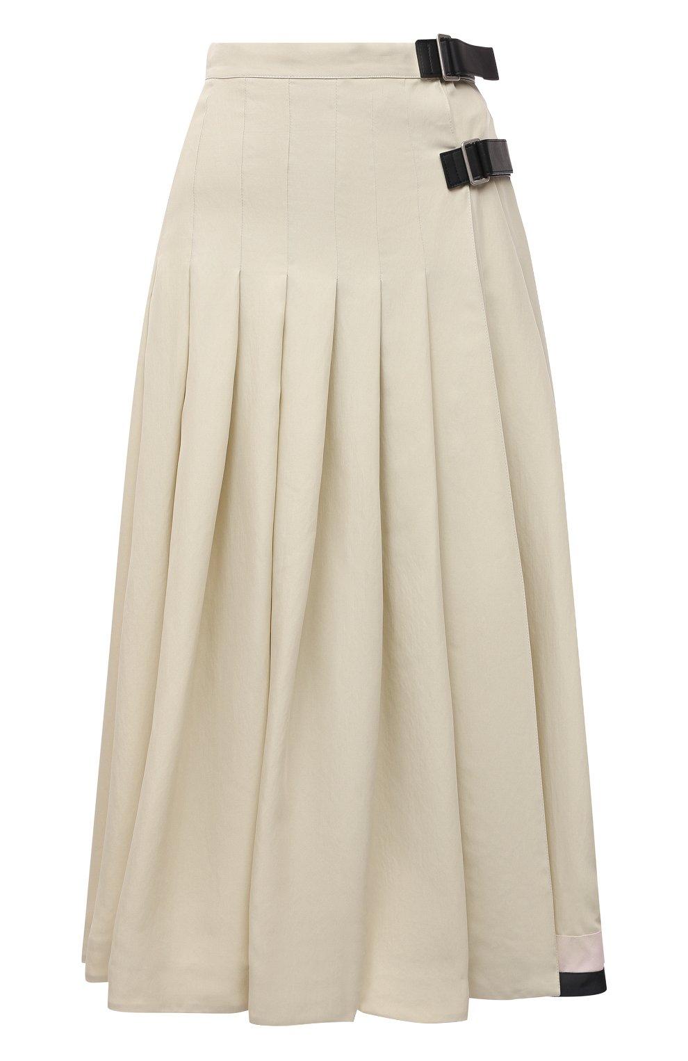 Женская юбка из вискозы и шелка JIL SANDER светло-бежевого цвета, арт. JSPS350856-WS391900B   Фото 1