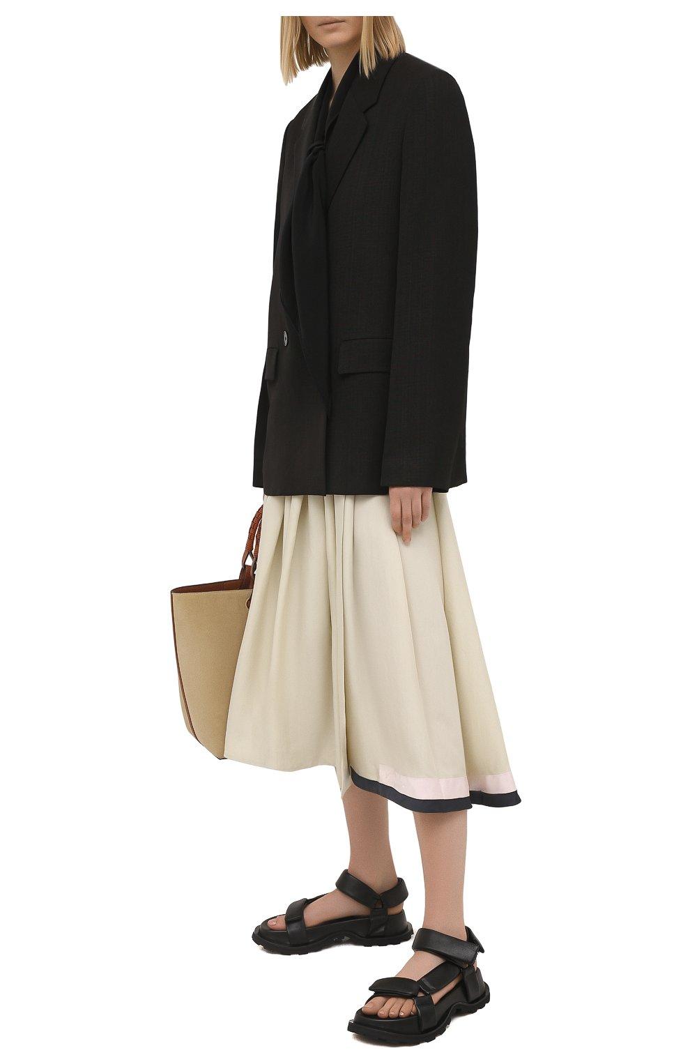 Женская юбка из вискозы и шелка JIL SANDER светло-бежевого цвета, арт. JSPS350856-WS391900B   Фото 2
