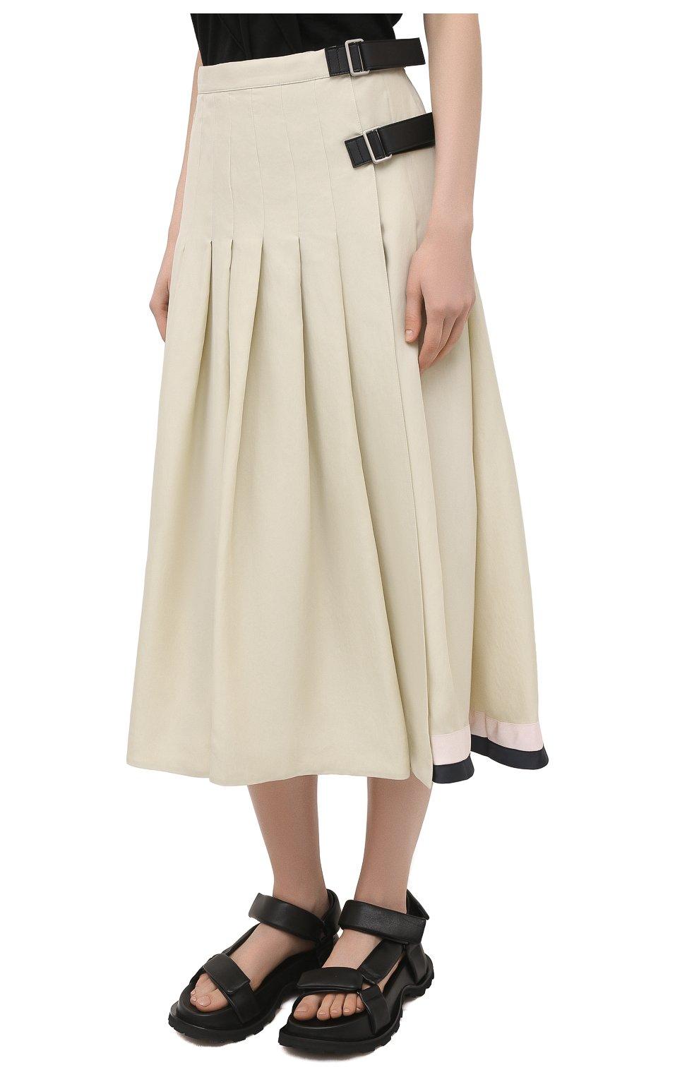 Женская юбка из вискозы и шелка JIL SANDER светло-бежевого цвета, арт. JSPS350856-WS391900B   Фото 3