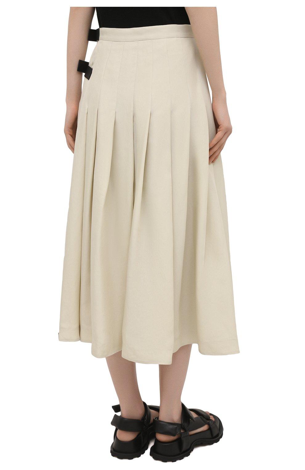 Женская юбка из вискозы и шелка JIL SANDER светло-бежевого цвета, арт. JSPS350856-WS391900B   Фото 4
