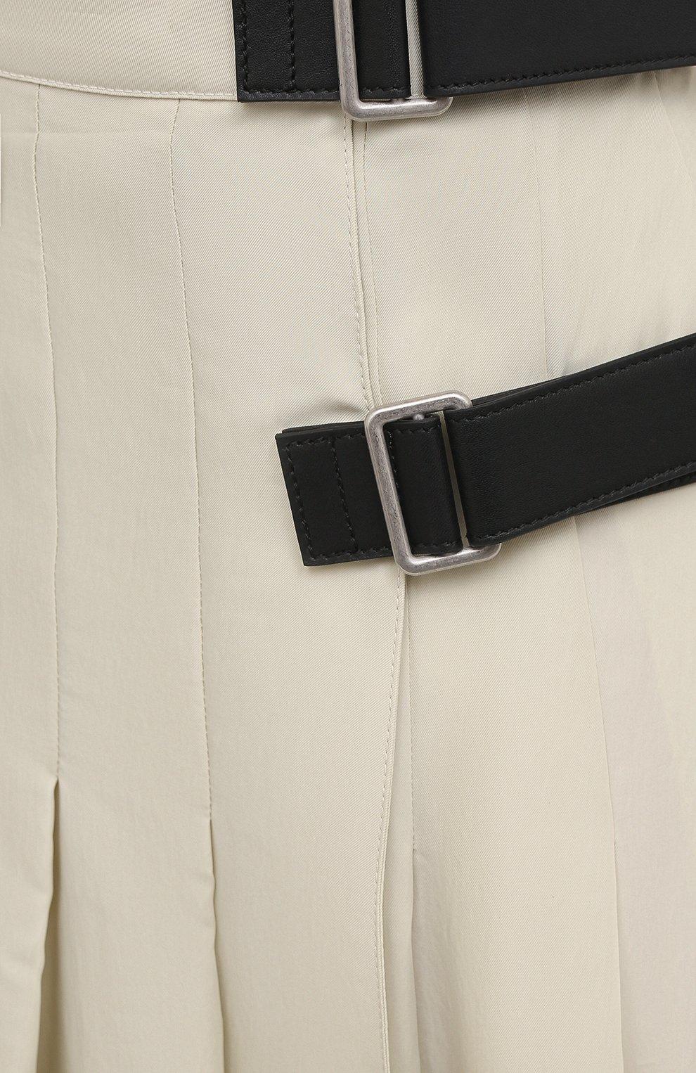 Женская юбка из вискозы и шелка JIL SANDER светло-бежевого цвета, арт. JSPS350856-WS391900B   Фото 5