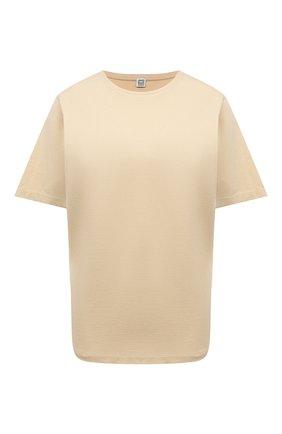 Женская хлопковая футболка TOTÊME бежевого цвета, арт. 212-472-770 | Фото 1