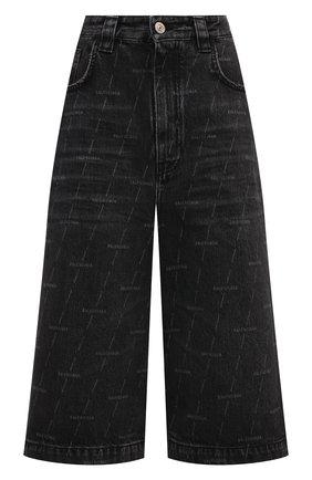 Женские джинсовые шорты BALENCIAGA черного цвета, арт. 646905/TJW41 | Фото 1 (Длина Ж (юбки, платья, шорты): Миди; Стили: Гранж; Материал внешний: Хлопок; Кросс-КТ: Деним, Широкие; Женское Кросс-КТ: Шорты-одежда)