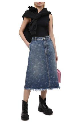 Женская джинсовая юбка BALENCIAGA синего цвета, арт. 641517/TJW53 | Фото 2