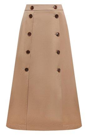 Женская хлопковая юбка BOSS бежевого цвета, арт. 50451674 | Фото 1