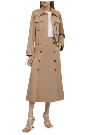 Женская хлопковая юбка BOSS бежевого цвета, арт. 50451674 | Фото 2