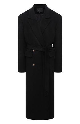 Женское пальто из шерсти и вискозы LESYANEBO черного цвета, арт. FW20/H-405-2 | Фото 1 (Рукава: Длинные; Материал внешний: Шерсть; Материал подклада: Вискоза; 1-2-бортные: Однобортные; Длина (верхняя одежда): Длинные; Стили: Гламурный)