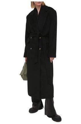 Женское пальто из шерсти и вискозы LESYANEBO черного цвета, арт. FW20/H-405-2 | Фото 2 (Рукава: Длинные; Материал внешний: Шерсть; Материал подклада: Вискоза; 1-2-бортные: Однобортные; Длина (верхняя одежда): Длинные; Стили: Гламурный)