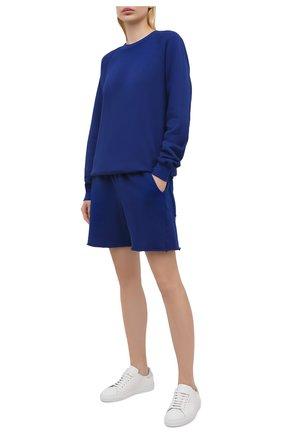 Женские хлопковые шорты LES TIEN синего цвета, арт. CF-3000 | Фото 2