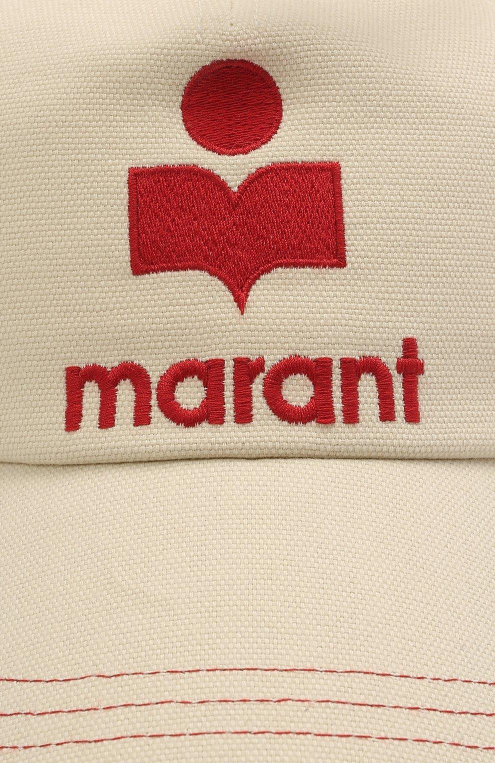 Женская хлопковая бейсболка ISABEL MARANT кремвого цвета, арт. CQ0015-21P026A/TYR0N | Фото 3