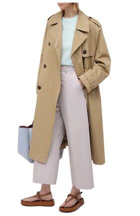 Женские хлопковые брюки MSGM серого цвета, арт. 3041MDP06 217105 | Фото 2