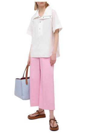 Женские хлопковые брюки MSGM светло-розового цвета, арт. 3041MDP06 217105 | Фото 2
