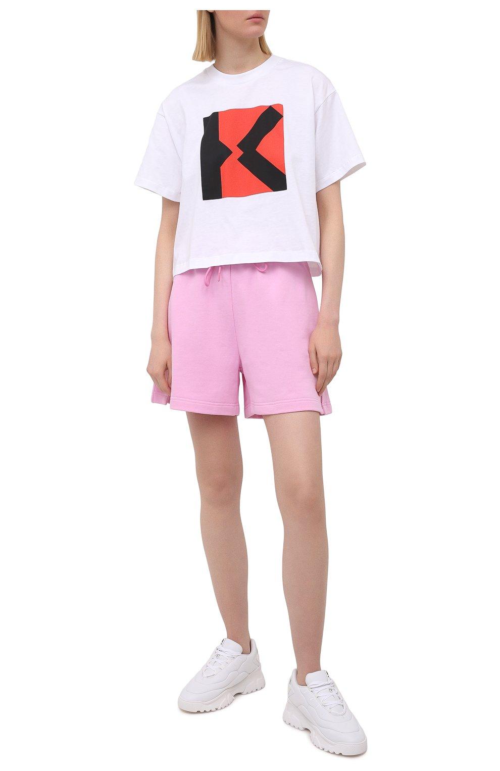 Женские хлопковые шорты MSGM светло-розового цвета, арт. 3041MDB60 217299 | Фото 2