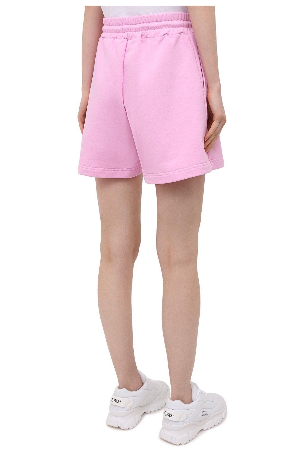 Женские хлопковые шорты MSGM светло-розового цвета, арт. 3041MDB60 217299 | Фото 4