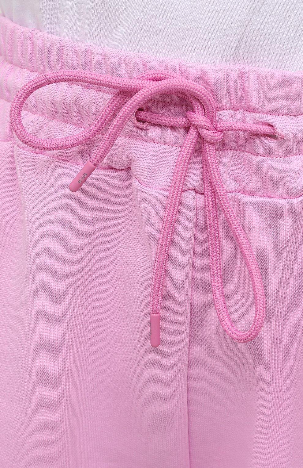 Женские хлопковые шорты MSGM светло-розового цвета, арт. 3041MDB60 217299 | Фото 5