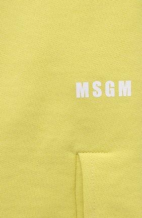 Женские хлопковые шорты MSGM желтого цвета, арт. 3041MDB60 217299 | Фото 5